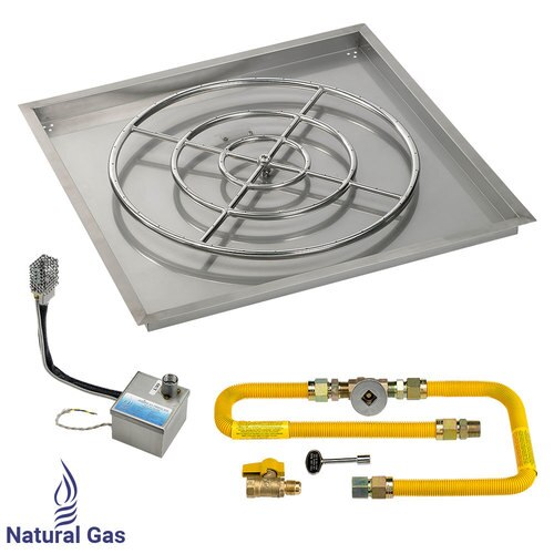 """36"""" X 36"""" High Capacity SIT Electronic Ignition Fire Pit Kit with Drop In Tray - 30"""" Burner -  Natural Gas"""