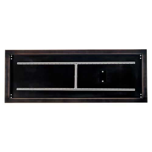 Top View Rectangular Drop-In Fire Pit Pan with Bronze Finish