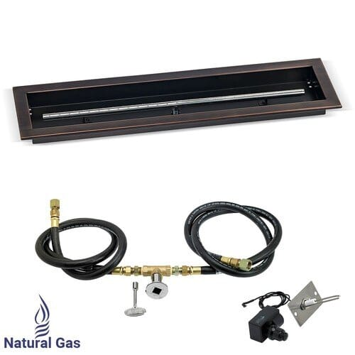 Linear Oil Rubbed Bronze Drop-In Pan with Spark Ignition Kit - Nat. Gas