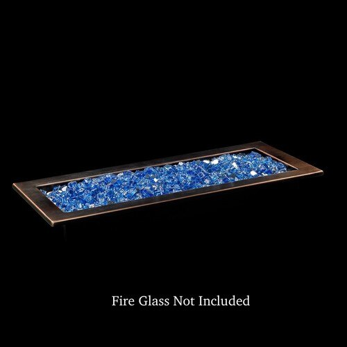 Bronze Finish Linear Drop-In Fire Pit Tray with Blue Fire Glass
