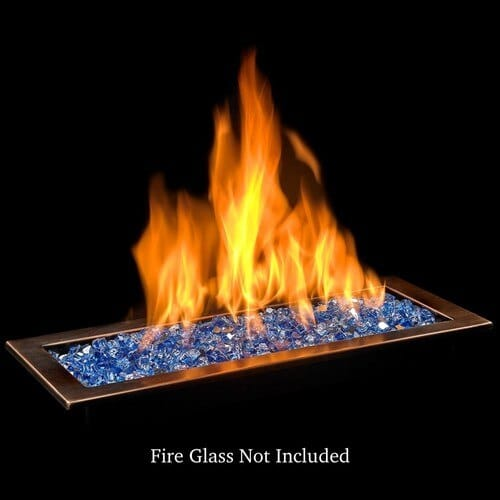 Bronze Finish Linear Drop-In Fire Pit Tray with Blue Fire Glass and Flames