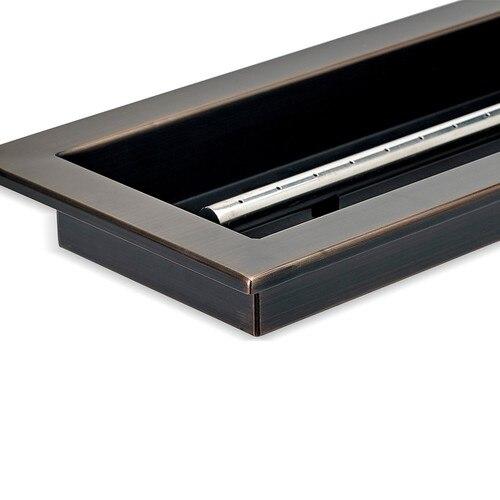 Corner Detail Rectangular Drop-In Fire Pit Pan with Bronze Finish
