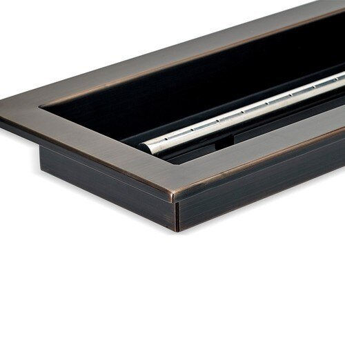 Corner Detail Bronze Finish Linear Drop-In Fire Pit Tray