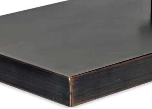 Rectangular Oil Rubbed Bronze Drop-In Fire Pit Pan Lid Corner Detail