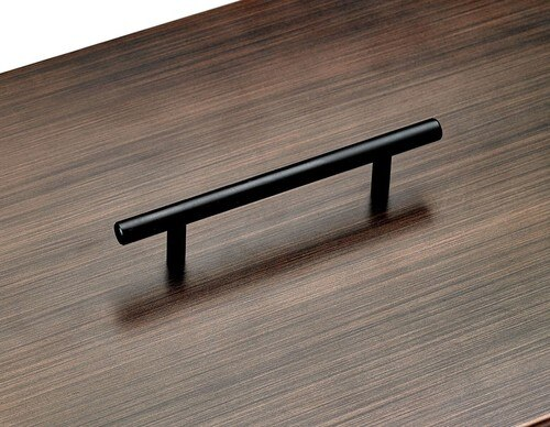 Rectangular Oil Rubbed Bronze Drop-In Fire Pit Pan Lid Handle Detail