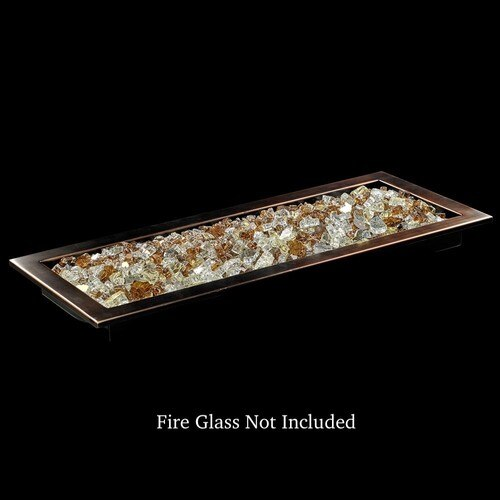 Rectangular Drop-In Fire Pit Pan with Bronze Finish with Zion Fire Glass