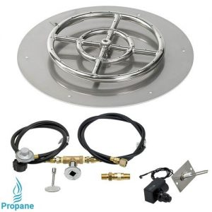 Gas Fire Pit Kit Round Flat Pan with Spark Ignition with Propane Connections