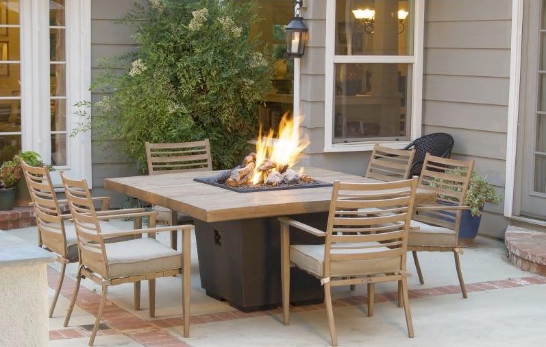 French Barrel Oak Cosmo Square Fire Table