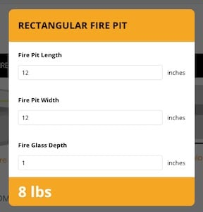 Fire Glass Calculator Example