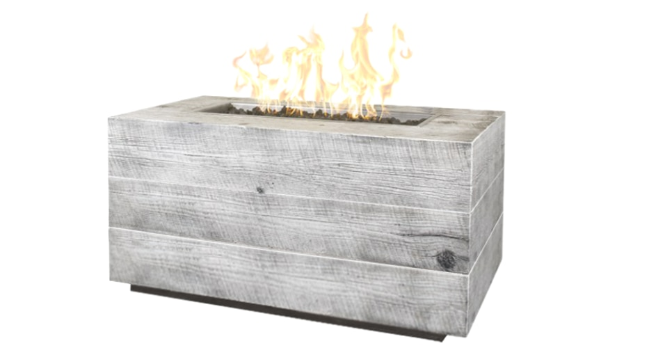 Catalina Wood Grain Fire Pit with Ivory Finish