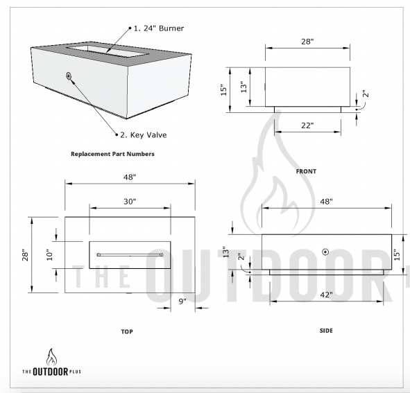 Coronado Wood grain Fire Pit Dimensions Drawing