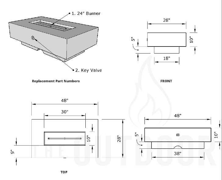 Del Mar Fire Pit Dimensions Drawing