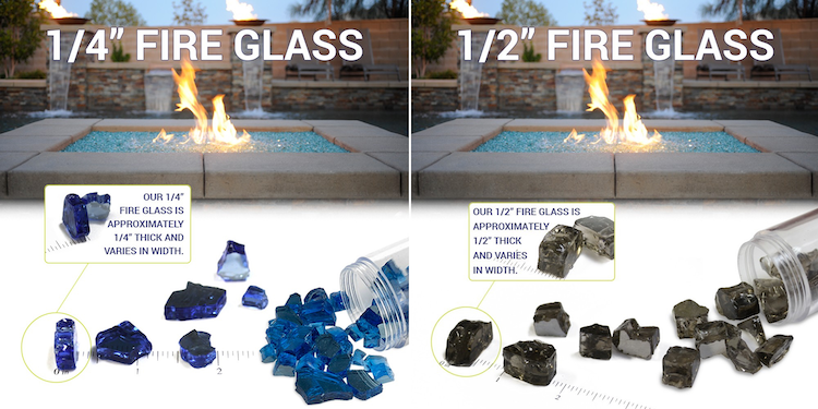 Image Showing Comparison Of 1/4 and 1/2 Inch Fire Glass