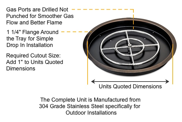 Round Fire Pit Tray Details Diagram