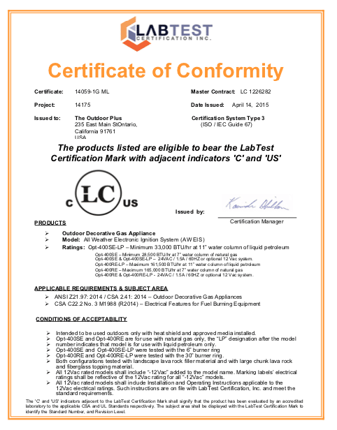 A Typical Fire Pit Certificate
