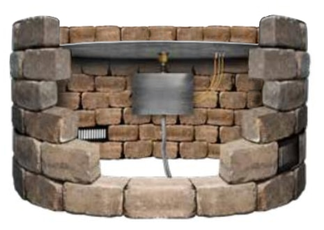 Cross Section Showing Fire Pit Pan Installation