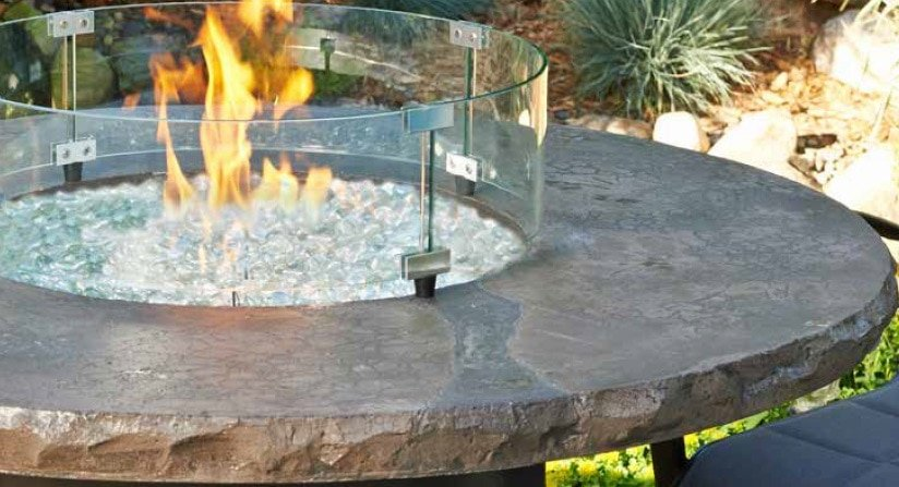 Round Fire Pit Wind Guard in use
